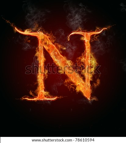 "Fire flaming letter ""N"""