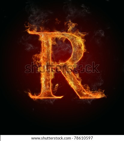 """Fire flaming letter """"R"""" - stock photo"""