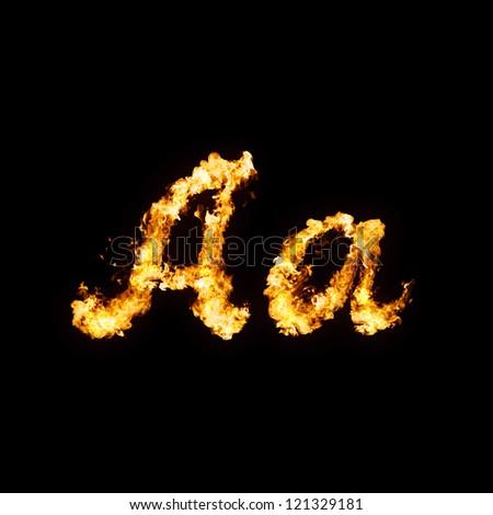 Fire font. Aa - stock photo