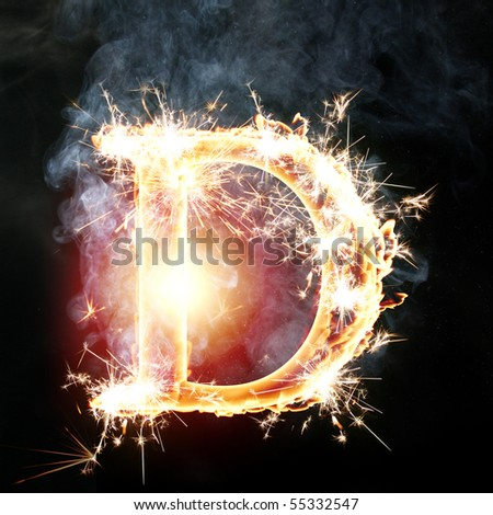 fire font: letter D on a dark background - stock photo