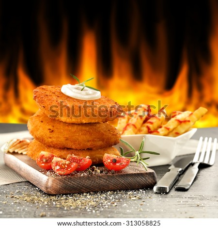 fire food and vegetables  - stock photo