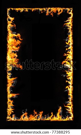 fire frame isolated on black - stock photo