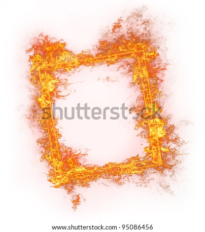 Fire frame, isolated on white background