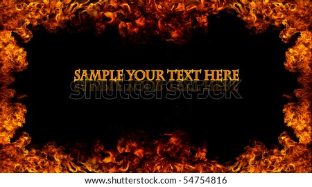 Fire frame with free space for your text - stock photo