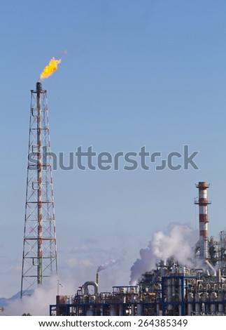 Fire from a gas torch, in the chemical industry
