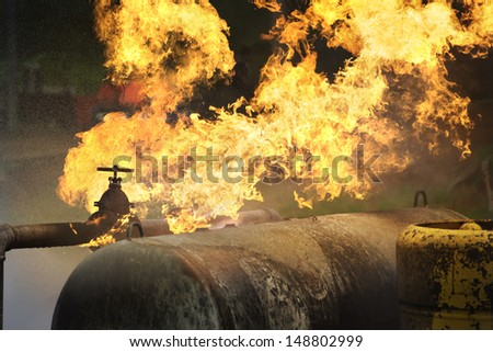 fire from gas pipe - stock photo