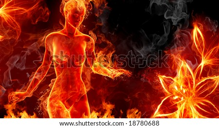 Fire girl and flower - stock photo