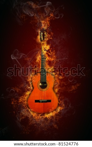 Fire guitar - stock photo