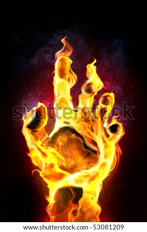 Fire hand on black background - stock photo