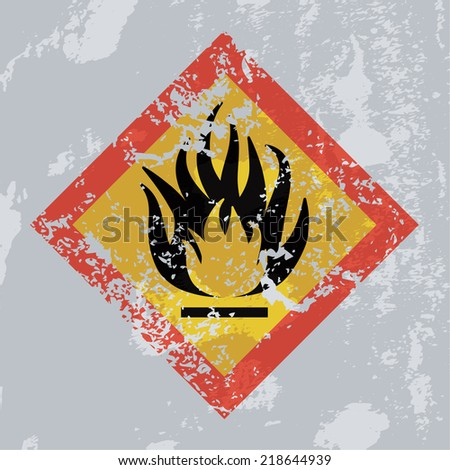 Fire hazard grunge sign. Highly flammable.  - stock photo