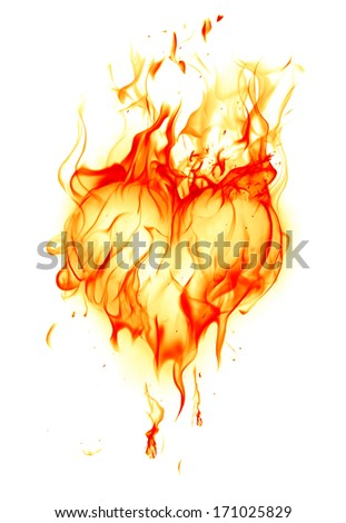 Fire heart - stock photo