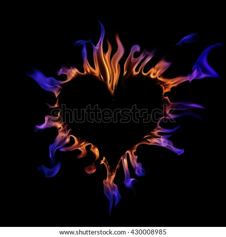 Fire heart - stock photo