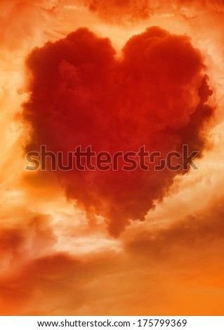 Fire heart shaped cloud. Valentine's Day card.  - stock photo