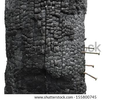 Fire Heat Burnt Black Coal Ruined Wood Log House - stock photo