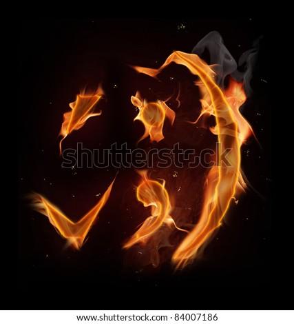 Fire hook, bracket, comma and semicolon symbols - stock photo