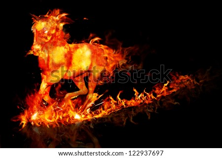 Fire horse running on a reflective surface and black background
