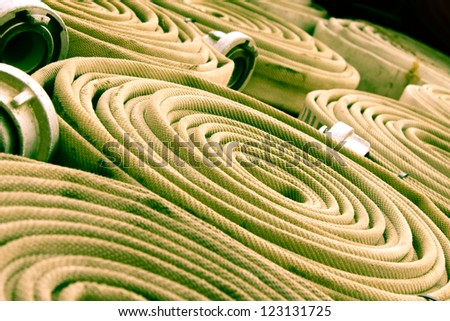 fire hoses background - stock photo