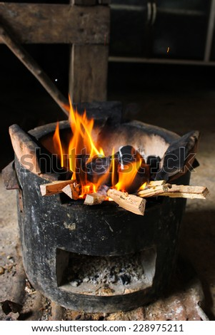 fire hot flame on stove charcoal for cooking - stock photo