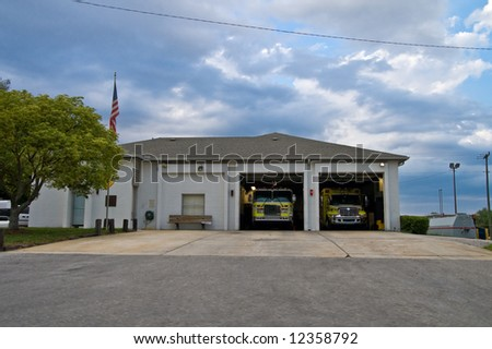 Fire House with Open Bays - stock photo