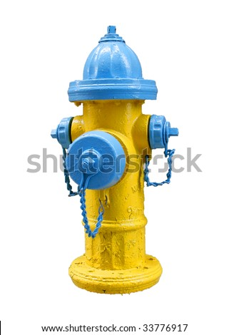 fire hydrant isolated on white - stock photo