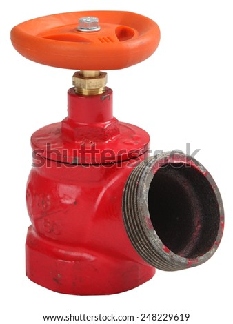 Fire hydrant valve oblique, cast iron red, male threaded coupling for connection of a fire hose, Isolated on white background, saved path contour selection.  - stock photo