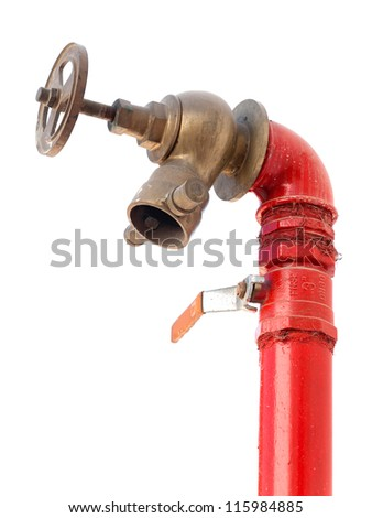 Fire hydrant with valve isolated on white background - stock photo