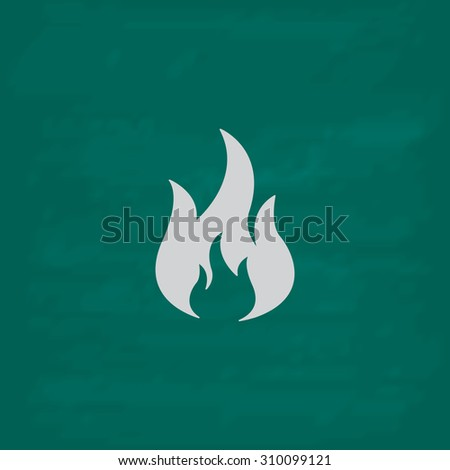 Fire.  Icon. Imitation draw with white chalk on green chalkboard. Flat Pictogram and School board background. Illustration symbol - stock photo
