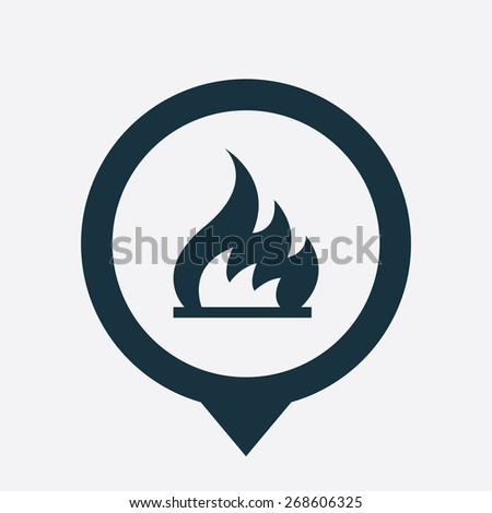 fire icon map pin on white background  - stock photo