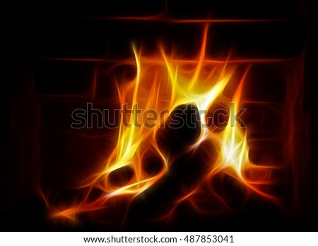 Fire illustration in a fireplace