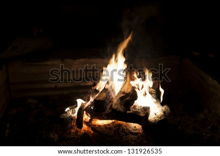 Fire in a fireplace, super high resolution