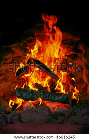 Fire in a stove - stock photo