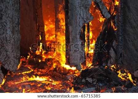 Fire in an abandoned house the poor detail - stock photo