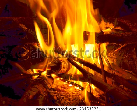 fire in black background - fireplace winter