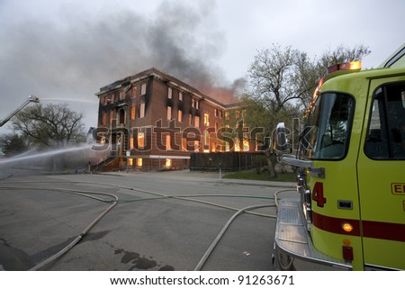 Fire in Building Saskatchewan - stock photo