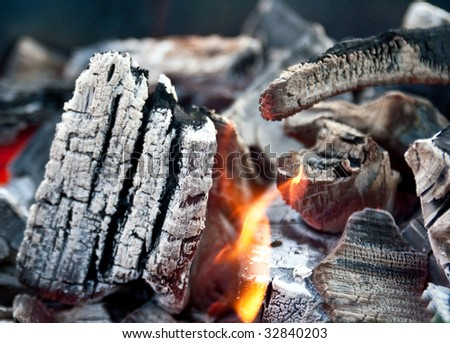 Fire in burning charcoal