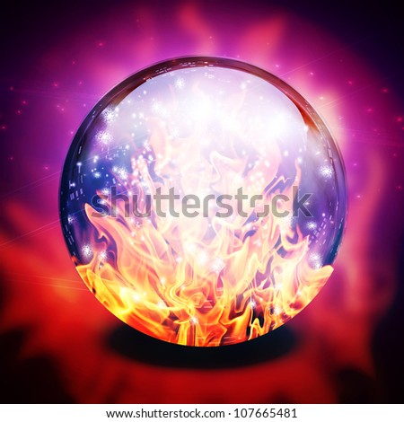Fire in diviners sphere - stock photo