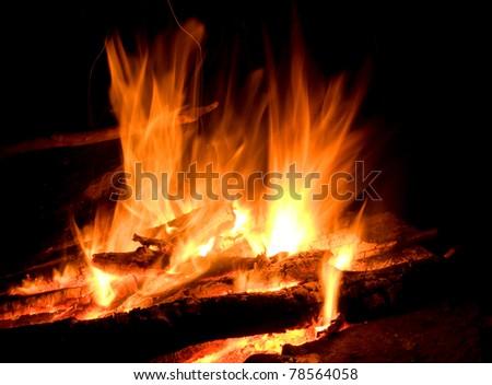 Fire in night - stock photo