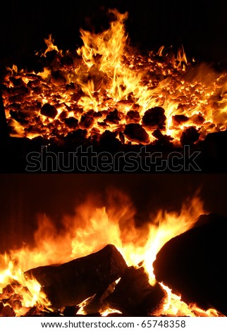 fire in stove - stock photo