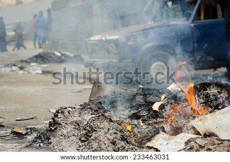 fire in the city - stock photo