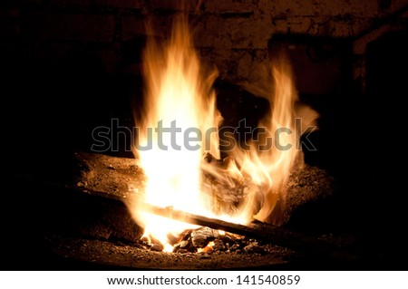 Fire in the forge - stock photo