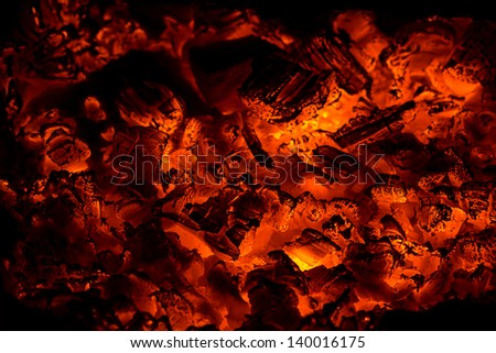 Fire in the furnace - stock photo