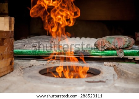 Fire in the Kitchen - stock photo
