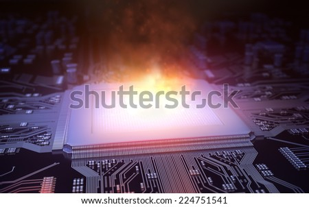 Fire in the microchip - stock photo
