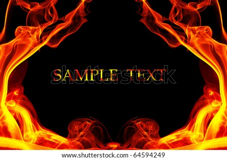 Fire in the shape of the frame. Background with place for your text - stock photo