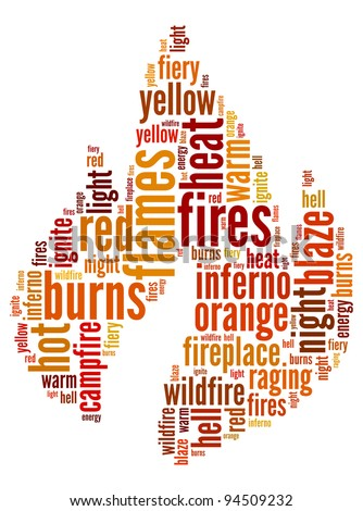 Fire info-text composed in the shape of a fire - stock photo