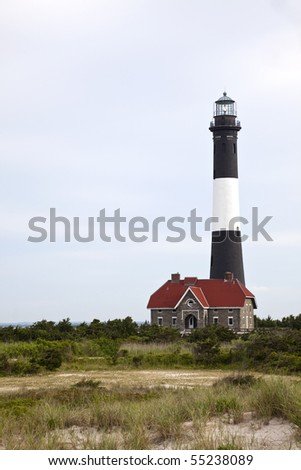 Fire Island Lighthouse located at Fire Island National Seashore, Long Island, New York - stock photo