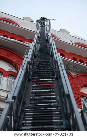 fire ladder - stock photo