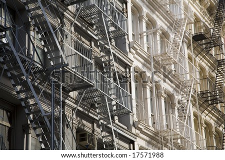 Fire Ladder - Manhattan,downtown,New York City - stock photo