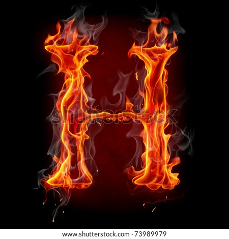 H Letter In Fire Hd Fire letter Stock Phot...