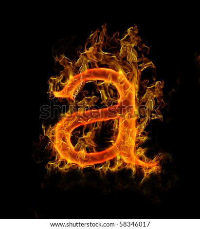 """Fire Letter """"a"""" - stock photo"""